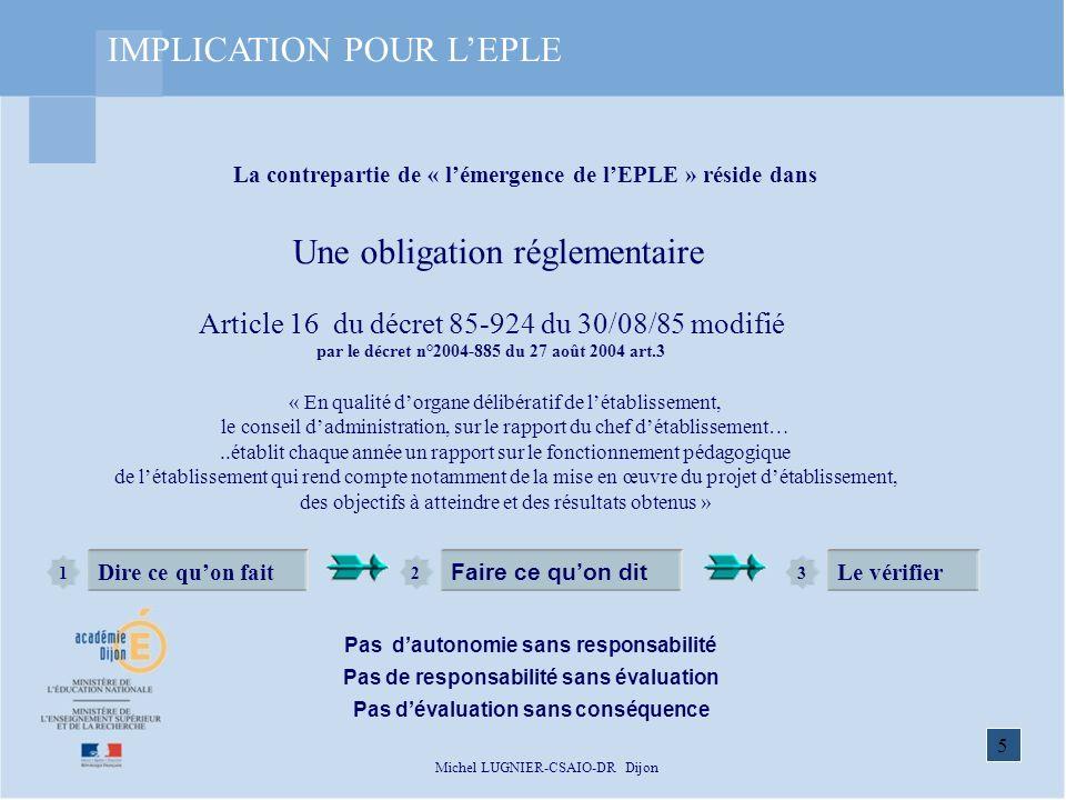 5 Michel LUGNIER-CSAIO-DR Dijon « En qualité dorgane délibératif de létablissement, le conseil dadministration, sur le rapport du chef détablissement…