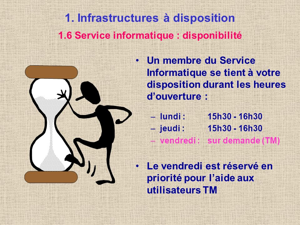 1. Infrastructures à disposition Un Service informatique est à la disposition des professeurs et des élèves Il offre, entre autres, les services suiva