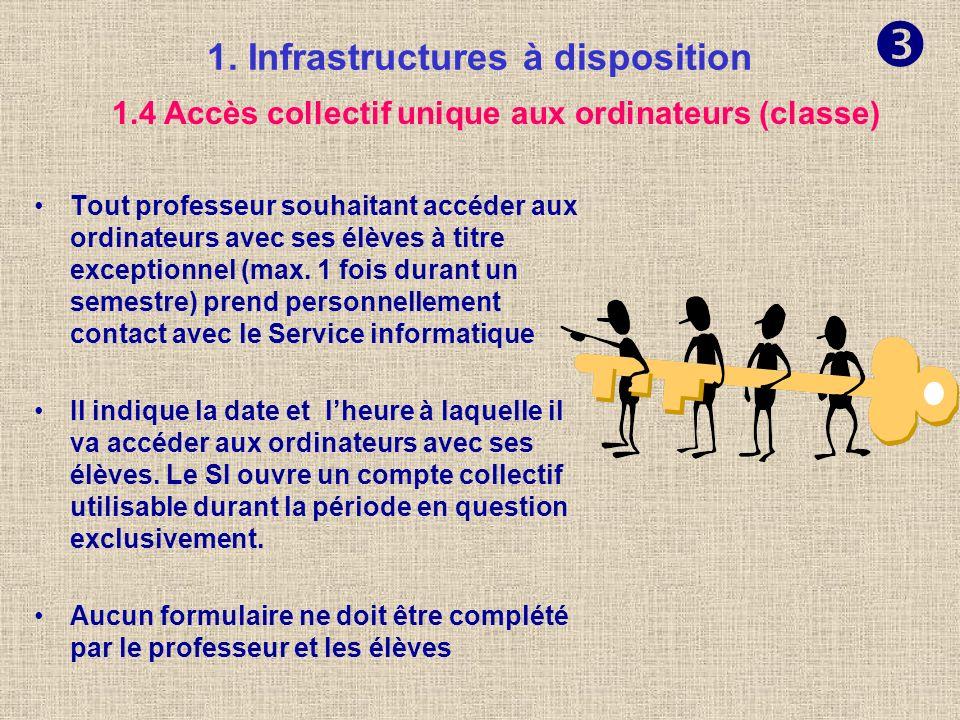 1. Infrastructures à disposition Tout professeur souhaitant accéder aux ordinateurs avec ses élèves dans le cadre de son cours doit se soucier que cha