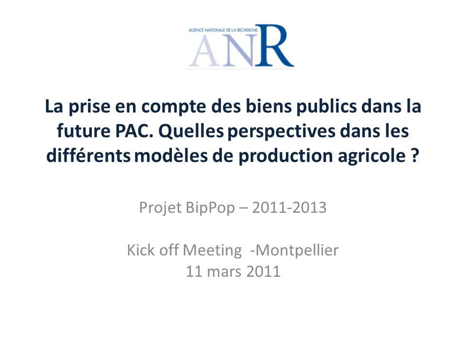 Tâche 4 : Analyse de la prise en compte des biens publics dans les politiques agricoles Principaux attendus : 1.