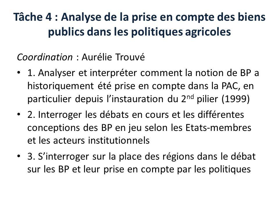 Tâche 4 : Analyse de la prise en compte des biens publics dans les politiques agricoles Coordination : Aurélie Trouvé 1.