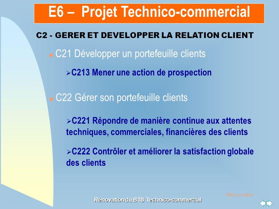 Retour au début Rénovation du BTS Technico-commercial n C21 Développer un portefeuille clients n C22 Gérer son portefeuille clients C213 Mener une act