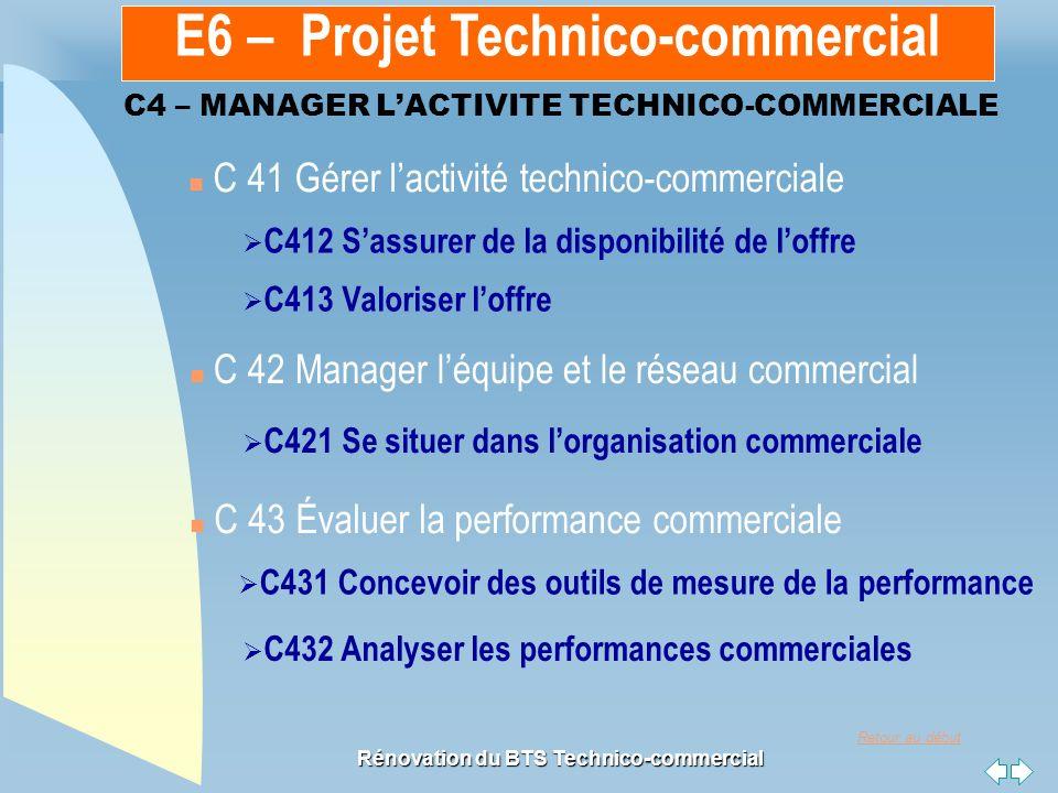Retour au début Rénovation du BTS Technico-commercial C4 – MANAGER LACTIVITE TECHNICO-COMMERCIALE n C 41 Gérer lactivité technico-commerciale n C 42 Manager léquipe et le réseau commercial C412 Sassurer de la disponibilité de loffre C413 Valoriser loffre C421 Se situer dans lorganisation commerciale C431 Concevoir des outils de mesure de la performance C432 Analyser les performances commerciales n C 43 Évaluer la performance commerciale E6 – Projet Technico-commercial