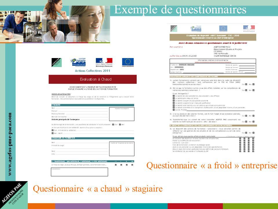 www.agefos-pme-paca.com Exemple de questionnaires Questionnaire « a chaud » stagiaire Questionnaire « a froid » entreprise
