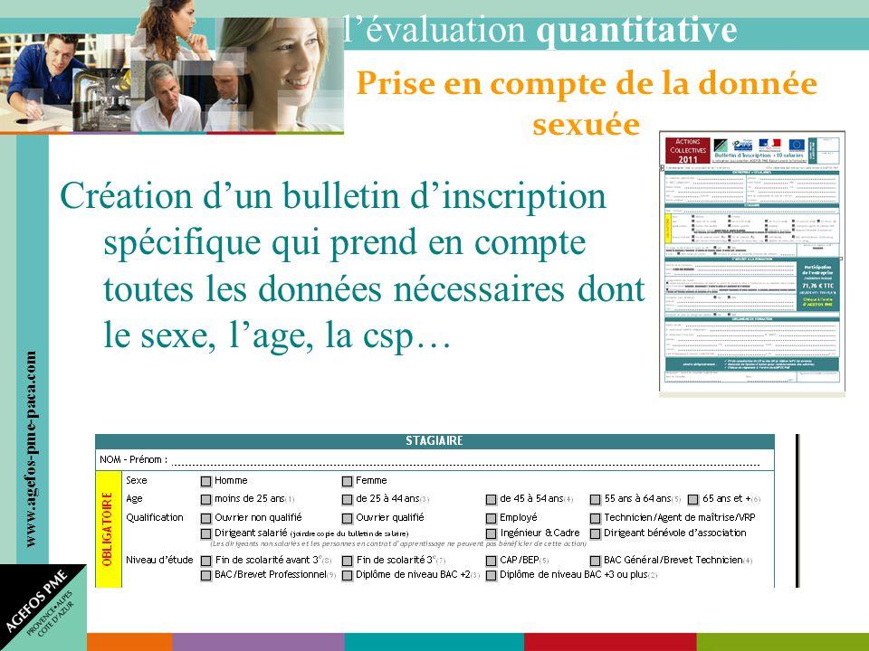 www.agefos-pme-paca.com Création dun bulletin dinscription spécifique qui prend en compte toutes les données nécessaires dont le sexe, lage, la csp… Prise en compte de la donnée sexuée lévaluation quantitative