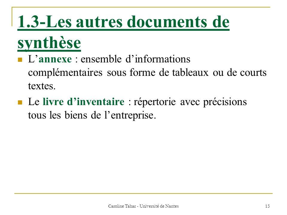 Caroline Tahar - Université de Nantes 15 1.3-Les autres documents de synthèse Lannexe : ensemble dinformations complémentaires sous forme de tableaux