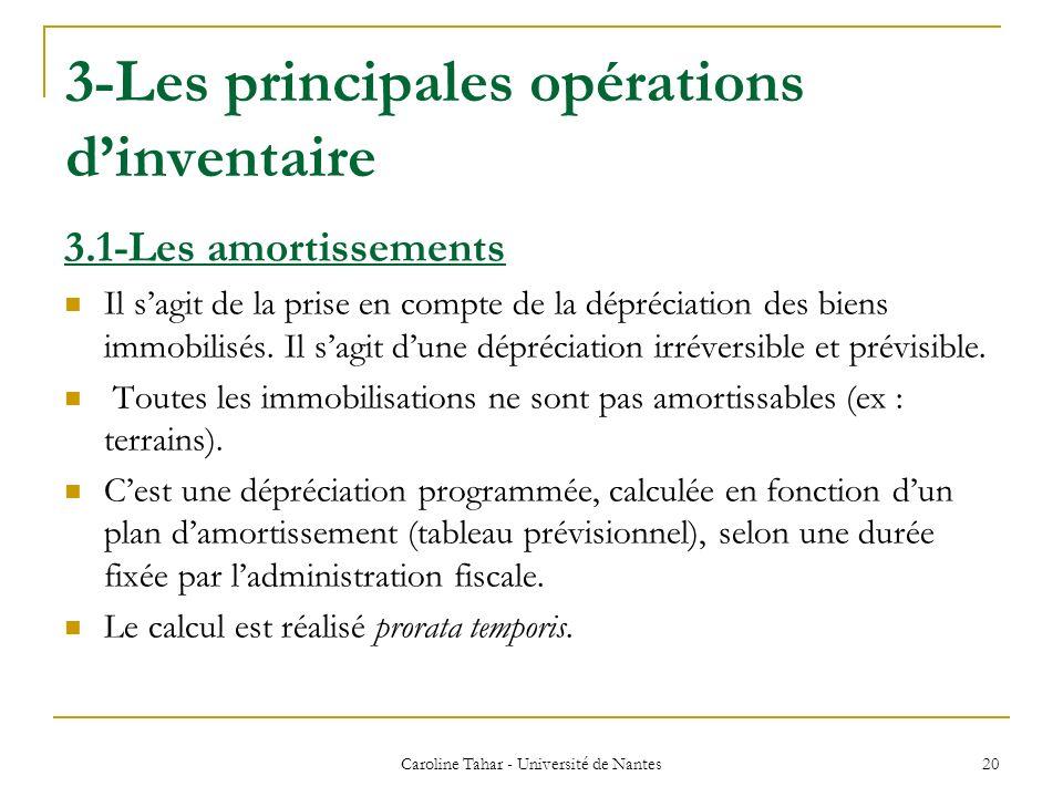 3-Les principales opérations dinventaire Caroline Tahar - Université de Nantes 20 3.1-Les amortissements Il sagit de la prise en compte de la déprécia