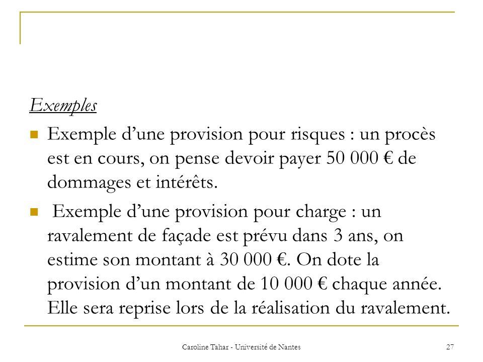 Caroline Tahar - Université de Nantes 27 Exemples Exemple dune provision pour risques : un procès est en cours, on pense devoir payer 50 000 de dommag