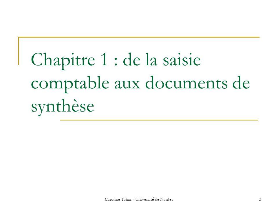 Caroline Tahar - Université de Nantes 14 1.2-Le compte de résultat (suite) Il peut se présenter en liste (notre exemple) ou en compte.