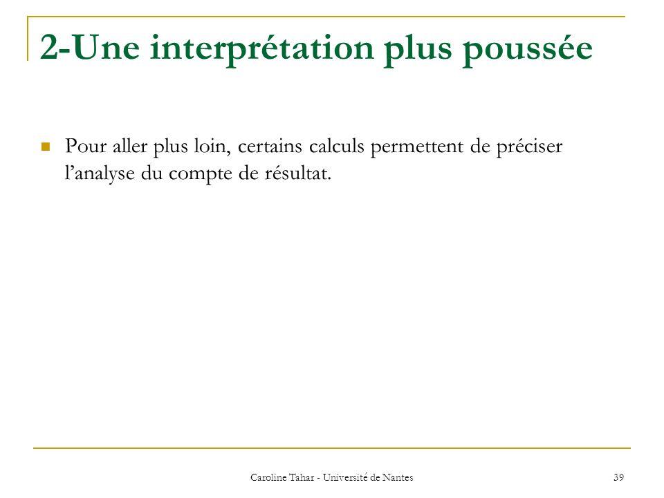2-Une interprétation plus poussée Caroline Tahar - Université de Nantes 39 Pour aller plus loin, certains calculs permettent de préciser lanalyse du c