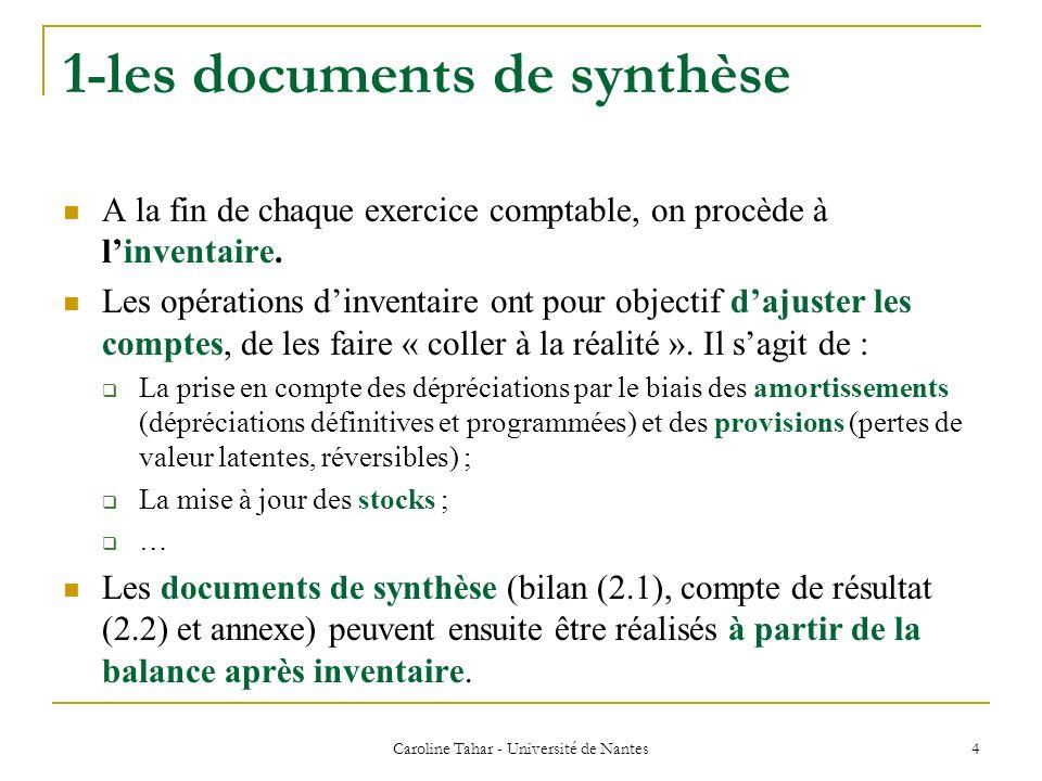 Caroline Tahar - Université de Nantes 15 1.3-Les autres documents de synthèse Lannexe : ensemble dinformations complémentaires sous forme de tableaux ou de courts textes.