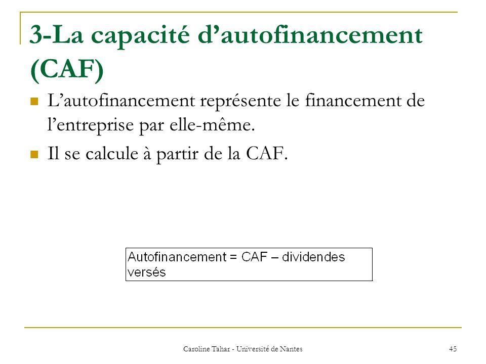 3-La capacité dautofinancement (CAF) Lautofinancement représente le financement de lentreprise par elle-même. Il se calcule à partir de la CAF. Caroli