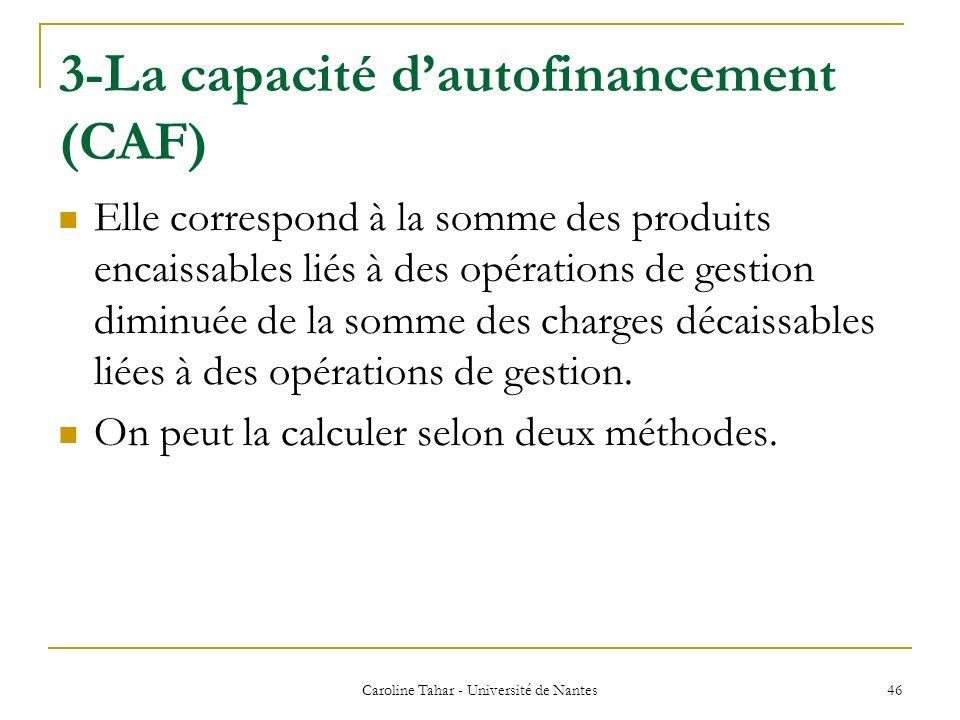 3-La capacité dautofinancement (CAF) Caroline Tahar - Université de Nantes 46 Elle correspond à la somme des produits encaissables liés à des opératio