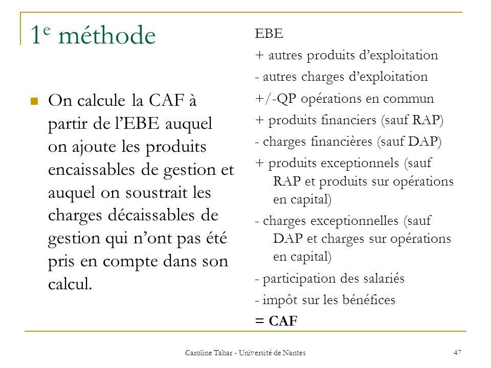1 e méthode On calcule la CAF à partir de lEBE auquel on ajoute les produits encaissables de gestion et auquel on soustrait les charges décaissables d