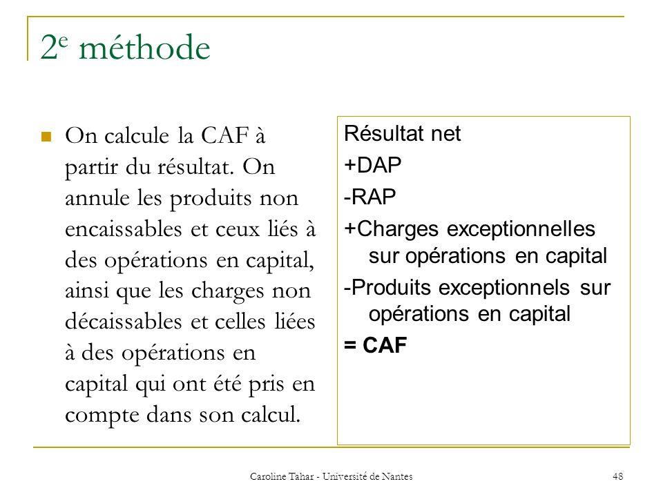 2 e méthode On calcule la CAF à partir du résultat. On annule les produits non encaissables et ceux liés à des opérations en capital, ainsi que les ch