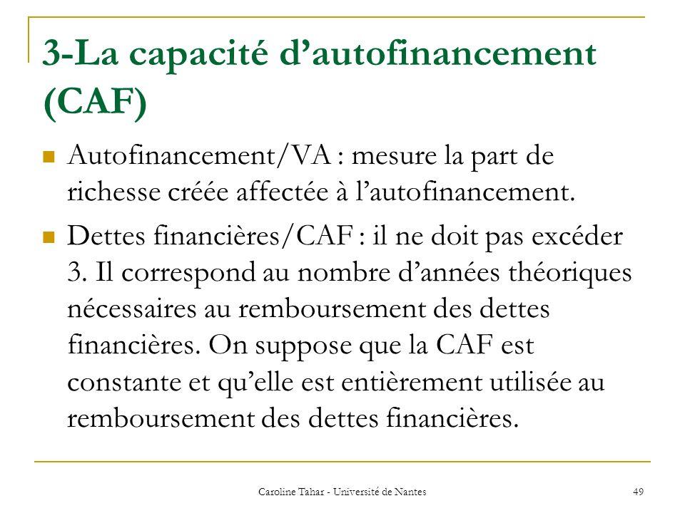 3-La capacité dautofinancement (CAF) Caroline Tahar - Université de Nantes 49 Autofinancement/VA : mesure la part de richesse créée affectée à lautofi