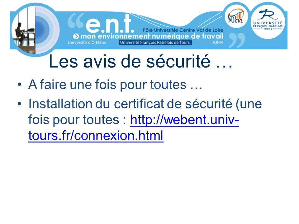 Les avis de sécurité … A faire une fois pour toutes … Installation du certificat de sécurité (une fois pour toutes : http://webent.univ- tours.fr/conn