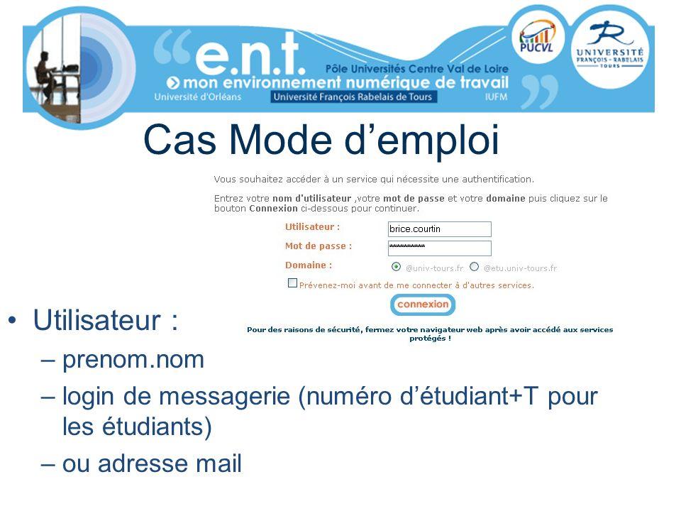 Cas Mode demploi Utilisateur : –prenom.nom –login de messagerie (numéro détudiant+T pour les étudiants) –ou adresse mail