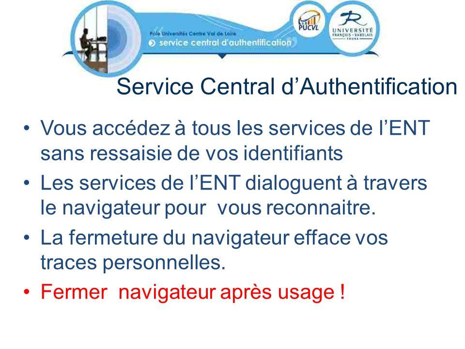 Service Central dAuthentification Vous accédez à tous les services de lENT sans ressaisie de vos identifiants Les services de lENT dialoguent à traver