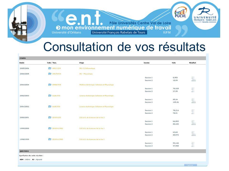 Consultation de vos résultats