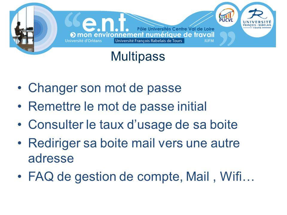 Multipass Changer son mot de passe Remettre le mot de passe initial Consulter le taux dusage de sa boite Rediriger sa boite mail vers une autre adress