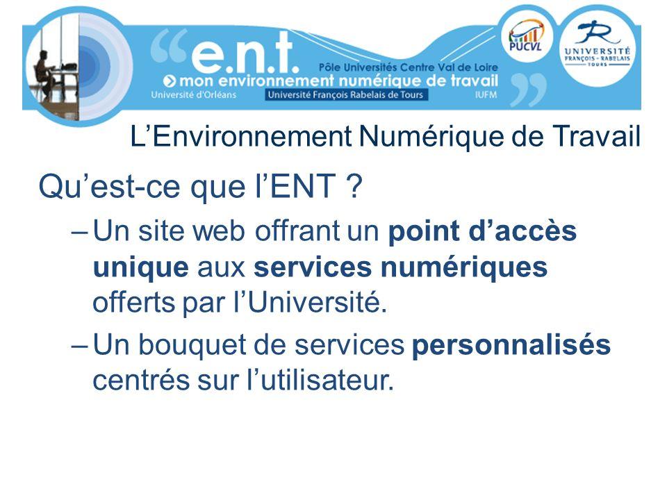 LEnvironnement Numérique de Travail Quest-ce que lENT ? –Un site web offrant un point daccès unique aux services numériques offerts par lUniversité. –