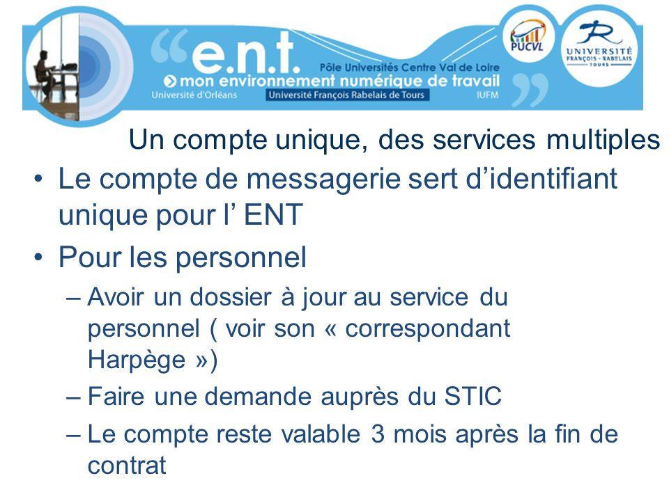Un compte unique, des services multiples Le compte de messagerie sert didentifiant unique pour l ENT Pour les personnel –Avoir un dossier à jour au se