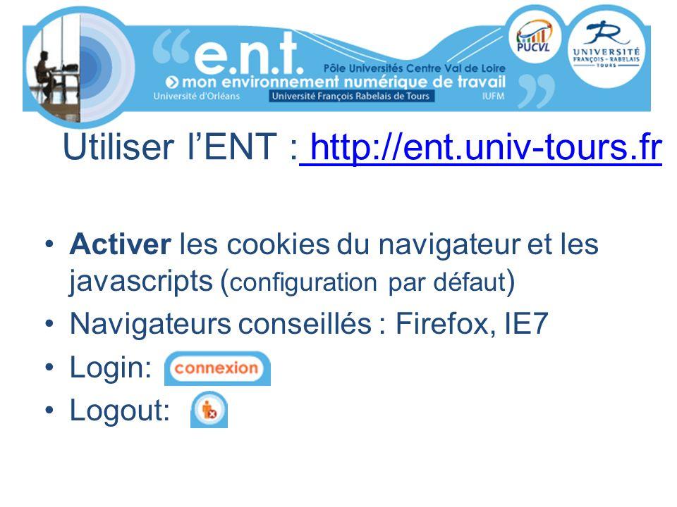 Utiliser lENT : http://ent.univ-tours.fr http://ent.univ-tours.fr Activer les cookies du navigateur et les javascripts ( configuration par défaut ) Na