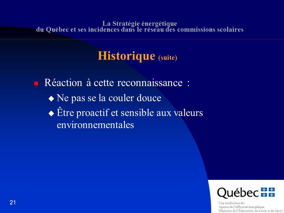 Une réalisation de: Agence de lefficacité énergétique Ministère de lÉducation, du Loisir et du Sport 21 La Stratégie énergétique du Québec et ses incidences dans le réseau des commissions scolaires Réaction à cette reconnaissance : Ne pas se la couler douce Être proactif et sensible aux valeurs environnementales Historique (suite)