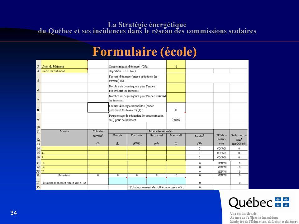 Une réalisation de: Agence de lefficacité énergétique Ministère de lÉducation, du Loisir et du Sport 34 La Stratégie énergétique du Québec et ses incidences dans le réseau des commissions scolaires Formulaire (école)