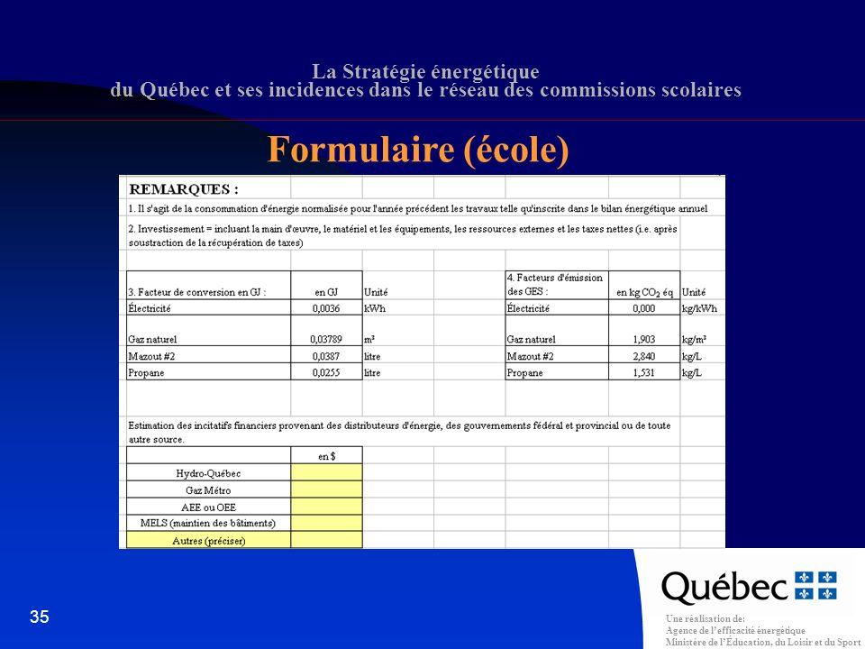 Une réalisation de: Agence de lefficacité énergétique Ministère de lÉducation, du Loisir et du Sport 35 La Stratégie énergétique du Québec et ses incidences dans le réseau des commissions scolaires Formulaire (école)