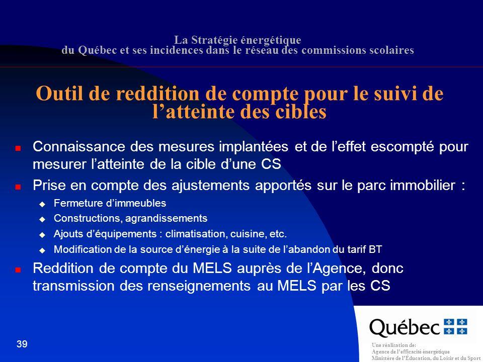 Une réalisation de: Agence de lefficacité énergétique Ministère de lÉducation, du Loisir et du Sport 39 La Stratégie énergétique du Québec et ses incidences dans le réseau des commissions scolaires Outil de reddition de compte pour le suivi de latteinte des cibles Connaissance des mesures implantées et de leffet escompté pour mesurer latteinte de la cible dune CS Prise en compte des ajustements apportés sur le parc immobilier : Fermeture dimmeubles Constructions, agrandissements Ajouts déquipements : climatisation, cuisine, etc.