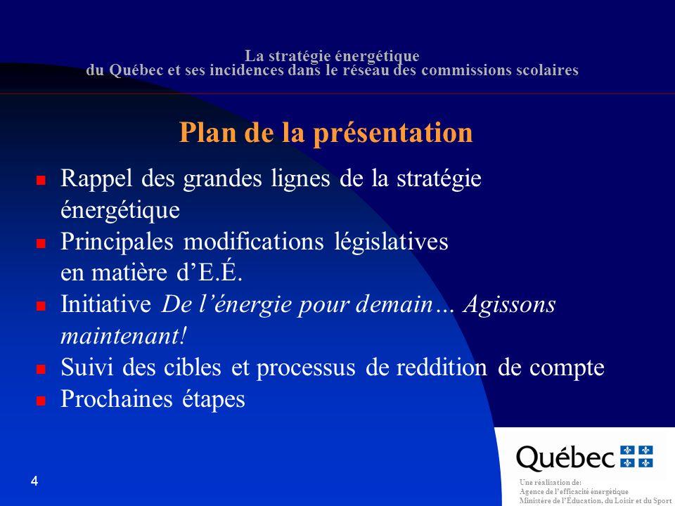 Une réalisation de: Agence de lefficacité énergétique Ministère de lÉducation, du Loisir et du Sport 15 La stratégie énergétique du Québec et ses incidences dans le réseau des commissions scolaires Réduction de 40 % de la consommation unitaire dénergie entre 1977 et aujourdhui De 1,1 Gj/m 2 à 0,77 Gj/m 2 Réduction de 68 % de la production de GES depuis 1977 et de 25 % depuis 1990 Historique (suite)