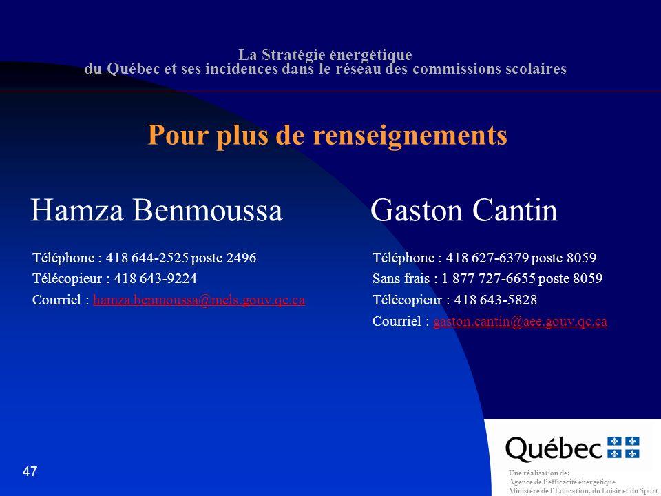 Une réalisation de: Agence de lefficacité énergétique Ministère de lÉducation, du Loisir et du Sport 47 Hamza Benmoussa Téléphone : 418 644-2525 poste 2496 Télécopieur : 418 643-9224 Courriel : hamza.benmoussa@mels.gouv.qc.cahamza.benmoussa@mels.gouv.qc.ca Gaston Cantin Téléphone : 418 627-6379 poste 8059 Sans frais : 1 877 727-6655 poste 8059 Télécopieur : 418 643-5828 Courriel : gaston.cantin@aee.gouv.qc.cagaston.cantin@aee.gouv.qc.ca La Stratégie énergétique du Québec et ses incidences dans le réseau des commissions scolaires Pour plus de renseignements
