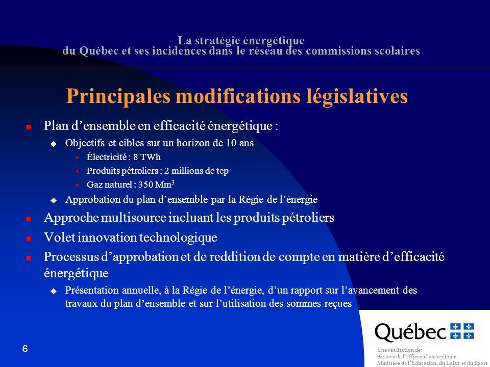 Une réalisation de: Agence de lefficacité énergétique Ministère de lÉducation, du Loisir et du Sport 37 La Stratégie énergétique du Québec et ses incidences dans le réseau des commissions scolaires Formulaire (école)