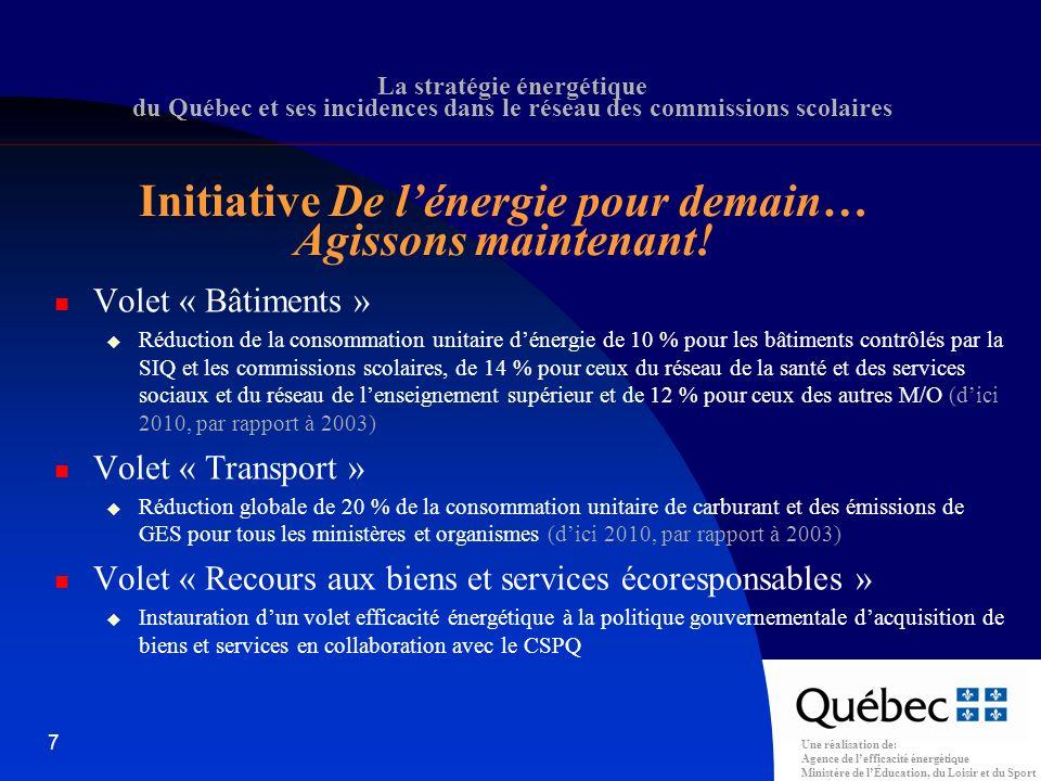 Une réalisation de: Agence de lefficacité énergétique Ministère de lÉducation, du Loisir et du Sport 38 Coût du projet : 5 450 000 $ Subvention : 200 000 $ Économies annuelles dénergie générées : 500 000 $ PRI = (5 450 000 – 200 000) / 500 000 = 10,5 ans Allocation consentie : 500 000 x 25 % + 500 000 x 30 % + 500 000 x 35 % + 500 000 x 0,5 (an) x 40 % 550 000 $ La Stratégie énergétique du Québec et ses incidences dans le réseau des commissions scolaires Exemple de calcul de lallocation (mesure 50640)