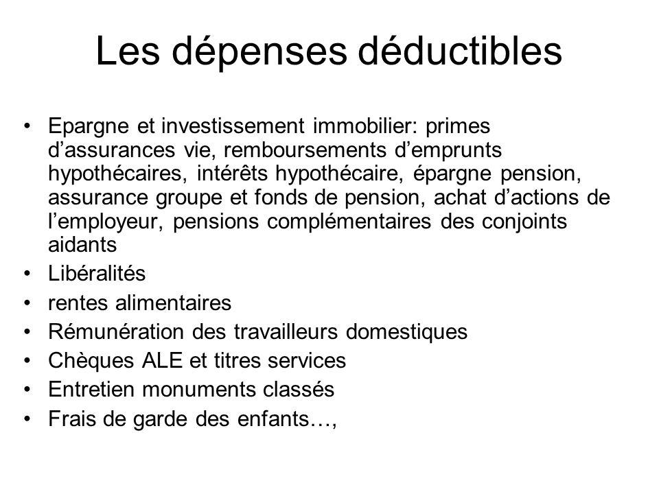 Les dépenses déductibles Epargne et investissement immobilier: primes dassurances vie, remboursements demprunts hypothécaires, intérêts hypothécaire,