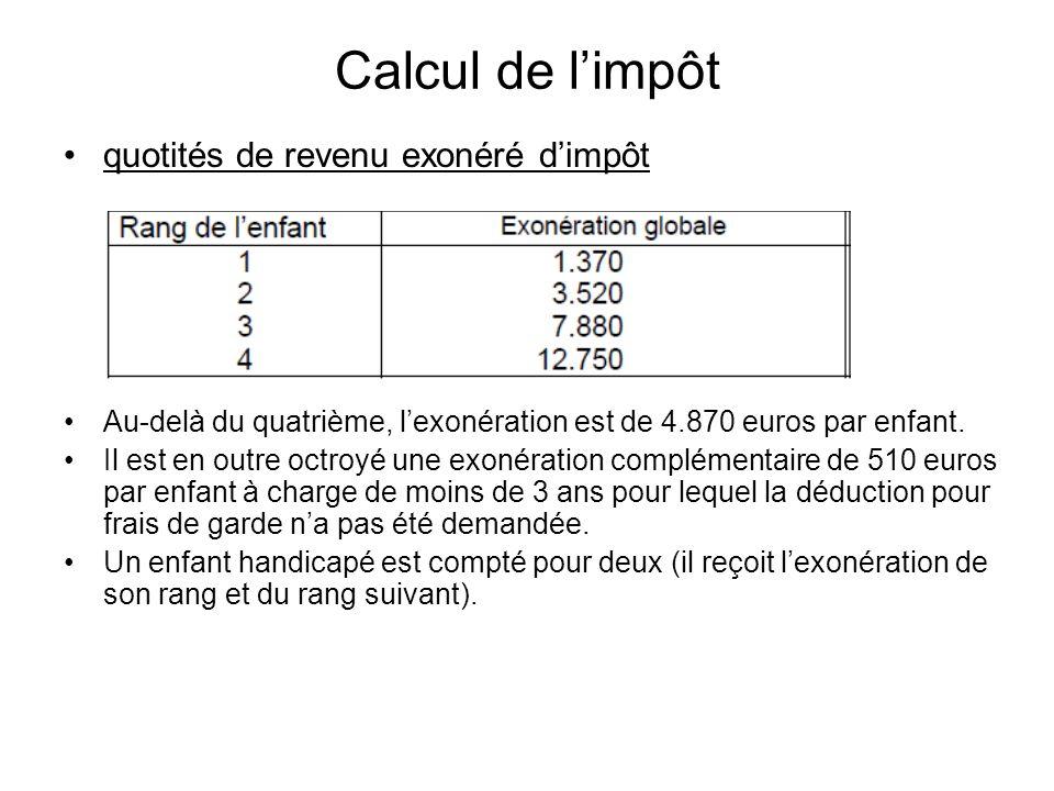 Calcul de limpôt quotités de revenu exonéré dimpôt Au-delà du quatrième, lexonération est de 4.870 euros par enfant. Il est en outre octroyé une exoné