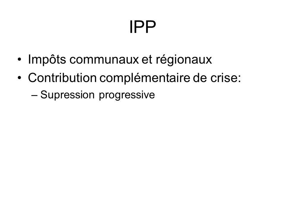 IPP Impôts communaux et régionaux Contribution complémentaire de crise: –Supression progressive