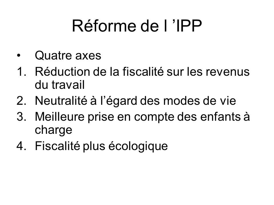 Réforme de l IPP Quatre axes 1.Réduction de la fiscalité sur les revenus du travail 2.Neutralité à légard des modes de vie 3.Meilleure prise en compte des enfants à charge 4.Fiscalité plus écologique