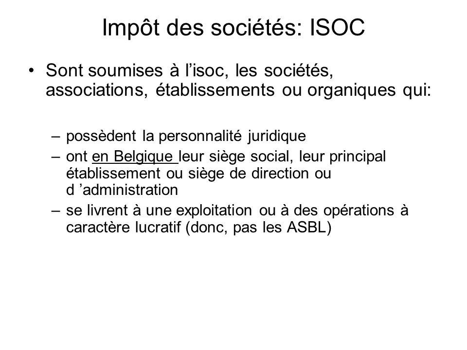 Impôt des sociétés: ISOC Sont soumises à lisoc, les sociétés, associations, établissements ou organiques qui: –possèdent la personnalité juridique –on