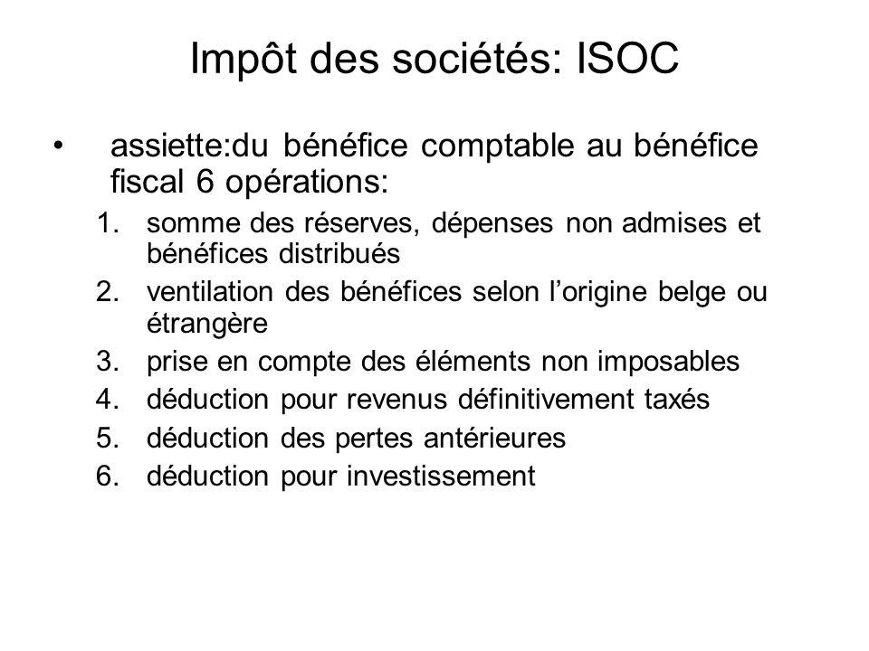 Impôt des sociétés: ISOC assiette:du bénéfice comptable au bénéfice fiscal 6 opérations: 1.somme des réserves, dépenses non admises et bénéfices distr