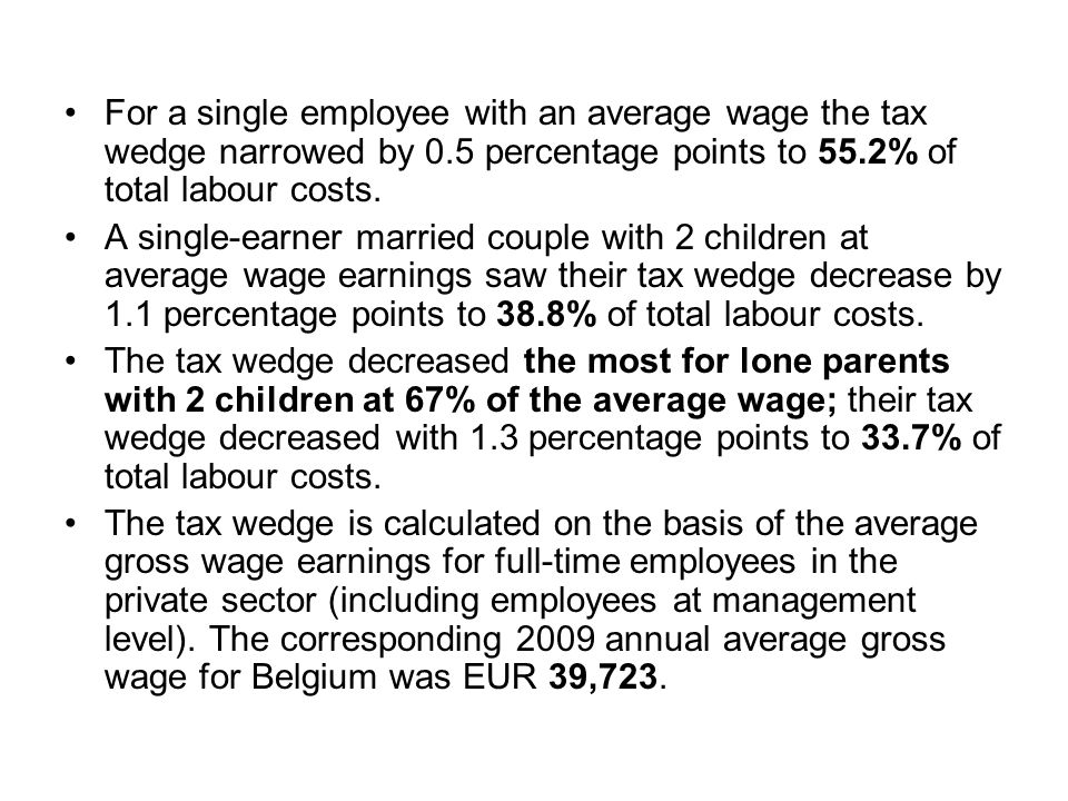 For a single employee with an average wage the tax wedge narrowed by 0.5 percentage points to 55.2% of total labour costs. A single-earner married cou