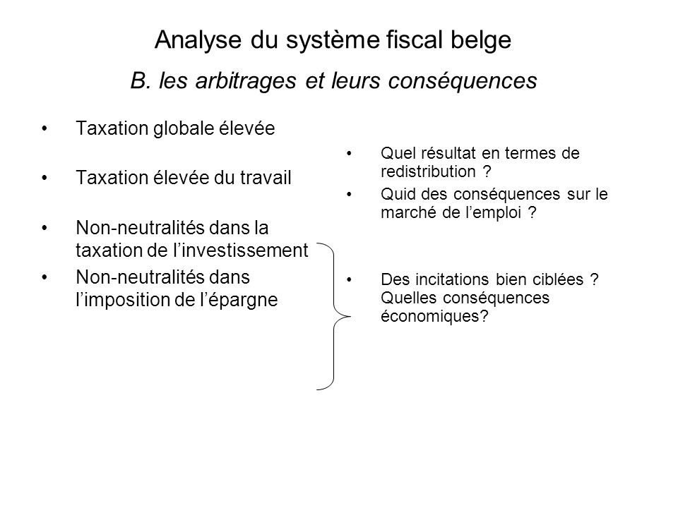 Analyse du système fiscal belge B.