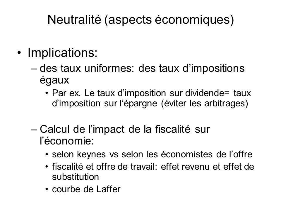Neutralité (aspects économiques) Implications: –des taux uniformes: des taux dimpositions égaux Par ex. Le taux dimposition sur dividende= taux dimpos