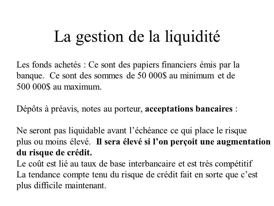 La gestion de la liquidité Les fonds achetés : Ce sont des papiers financiers émis par la banque.