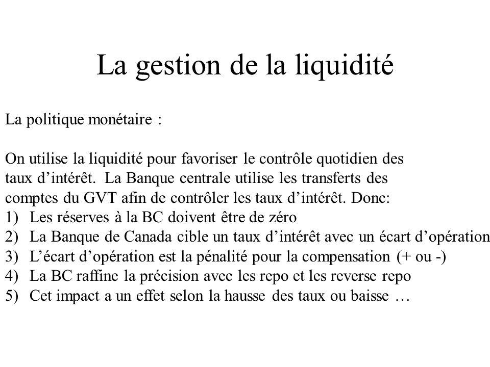 La gestion de la liquidité La politique monétaire : On utilise la liquidité pour favoriser le contrôle quotidien des taux dintérêt.