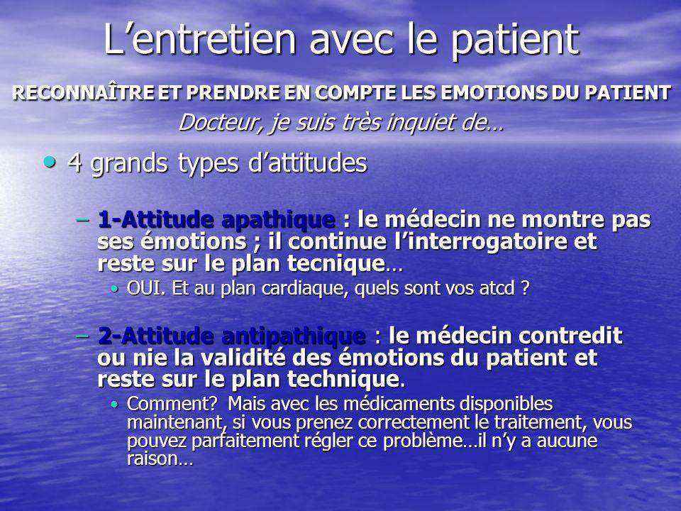 Lentretien avec le patient RECONNAÎTRE ET PRENDRE EN COMPTE LES EMOTIONS DU PATIENT Docteur, je suis très inquiet de… 4 grands types dattitudes 4 gran