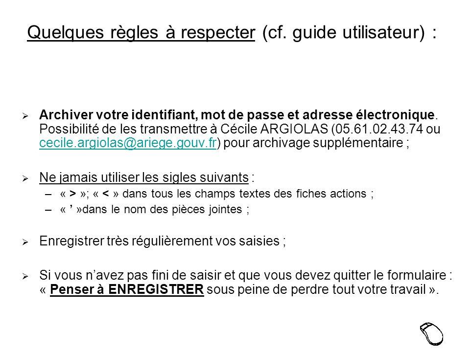 Quelques règles à respecter (cf.