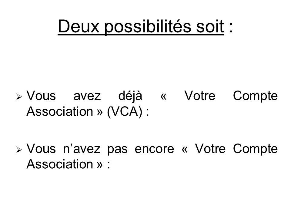 Deux possibilités soit : Vous avez déjà « Votre Compte Association » (VCA) : Vous navez pas encore « Votre Compte Association » :